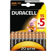 Батарейки Duracell - Basic alkaline MN2400 AAA LR03 1.5V 20шт