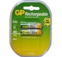 Аккумулятор GP AAA HR3 750mAh, 2шт.