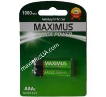 Аккумулятор NiMh Maximus HR03 AAA 1.2V 1000mAh, блистер