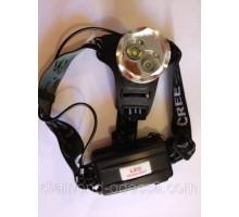 Фонарь налобный CREE T6, 2 аккумулятора