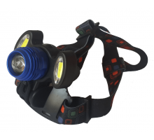 Фонарь на лоб T6 + COB, аккум., zoom +велокрепление, microUSB зарядка
