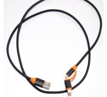 USB кабель 416 2 in 1 lightning, microUSB