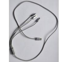 USB кабель 415 3 in 1 lightning, 2 x microUSB